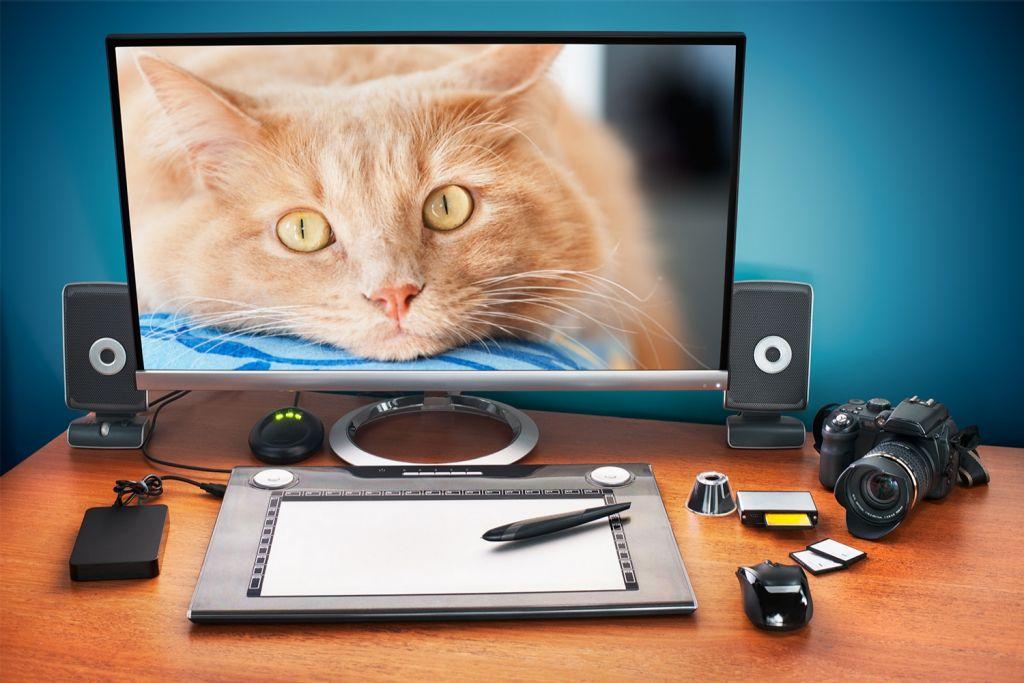 Édition photo sur un ordinateur de bureau