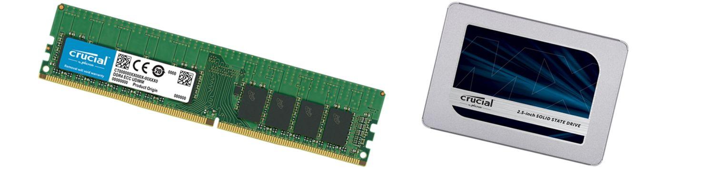Mémoire et SSD Crucial.
