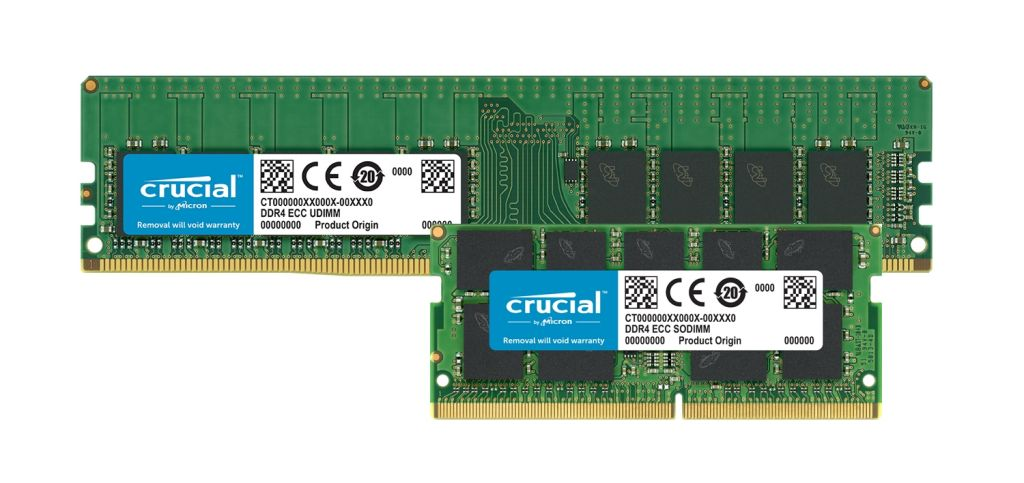 Modules de mémoire DDR4 ECC Crucial.