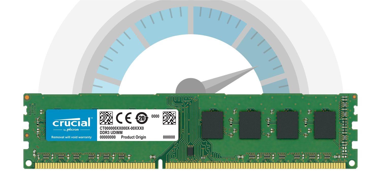 Un module de mémoire Crucial devant un compteur indiquant une vitesse importante
