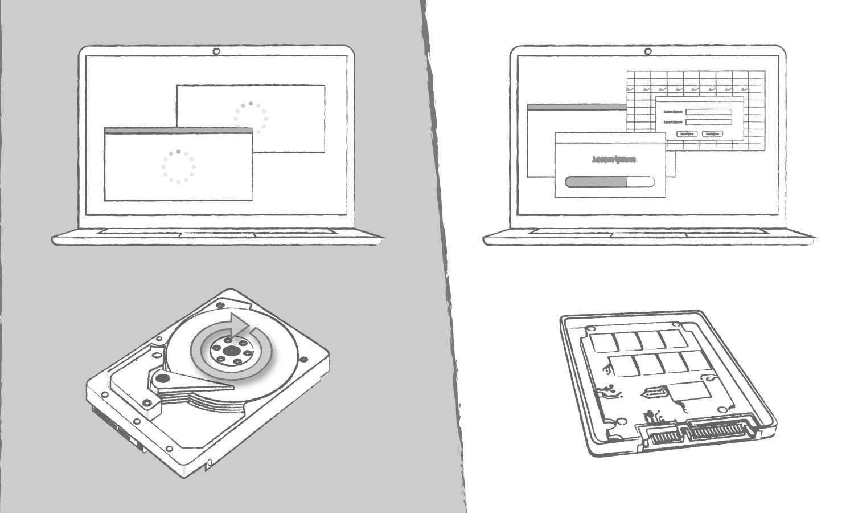 Une illustration représentant les avantages d'un SSD comparé à un disque dur concernant les temps de chargement de programmes
