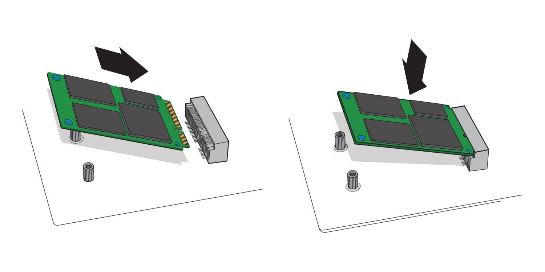 Illustration montrant comment insérer un SSD mSATA dans le port mSATA de la carte mère d'un ordinateur