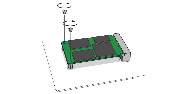 Illustration montrant comment visser un nouveau SSD mSATA dans le port mSATA de la carte mère d'un ordinateur