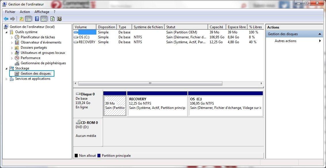 Étape de sélection de la Gestion des disques pour formater un SSD