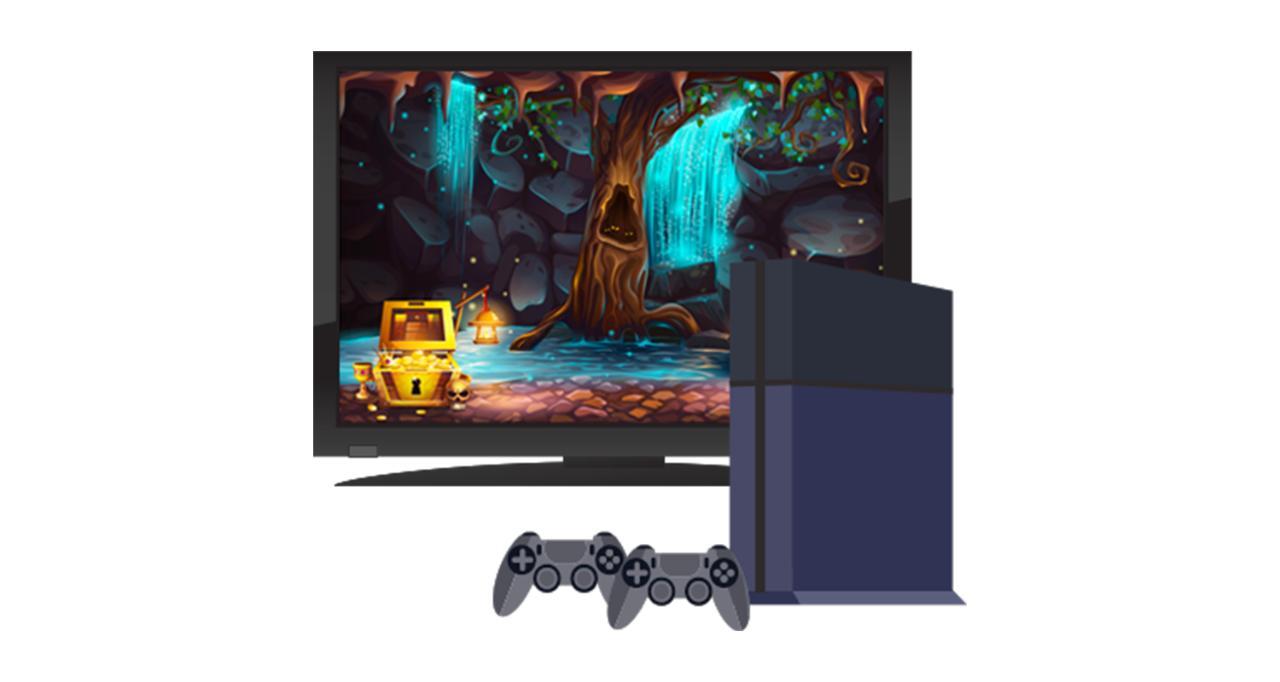 Console de jeu et écran de télévision
