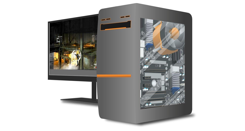 Un ordinateur gamer avec un écran montrant des images en jeu