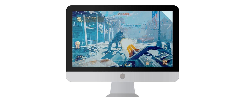 Écran de Mac affichant un jeu vidéo.