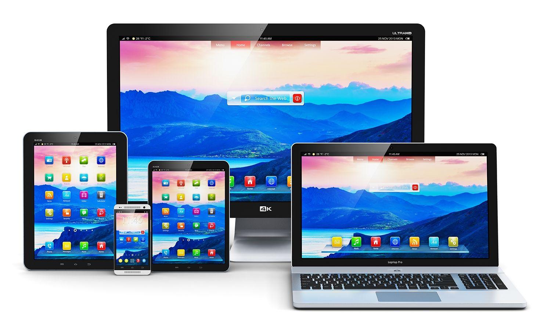 Ordinateur de bureau, ordinateur portable, tablette et téléphone