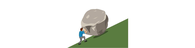 Homme poussant un rocher dans une côte pour représenter ce que l'on ressent avec un Mac lent