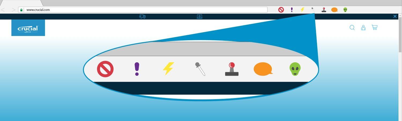 Illustration représentant les extensions d'un navigateur dans une fenêtre de navigation