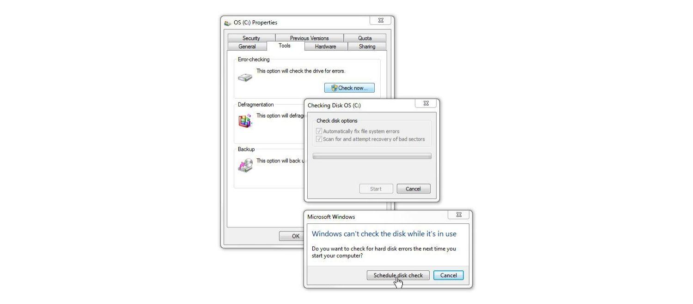 Fenêtre de vérification de disque Windows 7