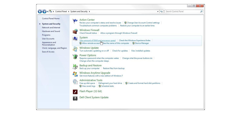 Fenêtre Système et sécurité Windows 7