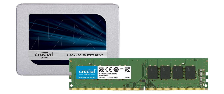 SSD Crucial et modules de mémoire RAM