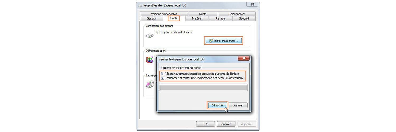 Capture d'écran d'une recherche de corruption dans un disque dur.