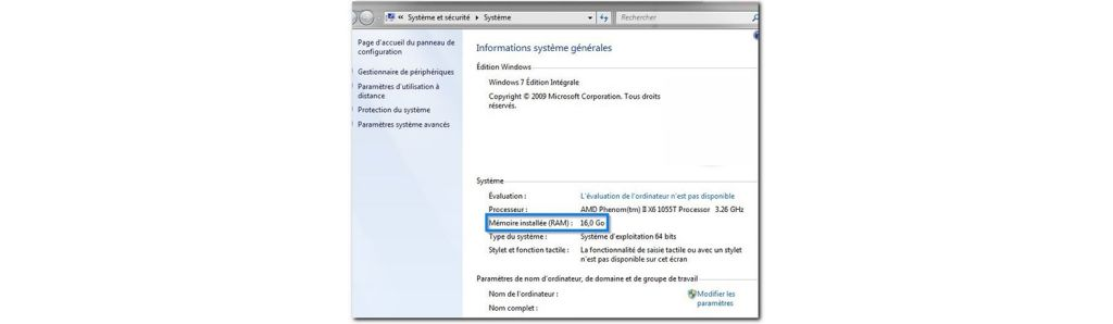 Capture d'écran de la quantité de mémoire dont dispose un ordinateur Windows.